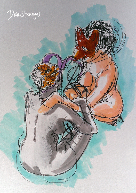 two masked figures drawing Draw Strange