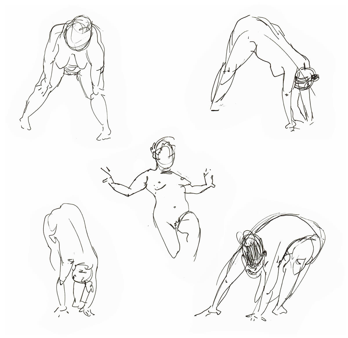 various gesture drawings in pen